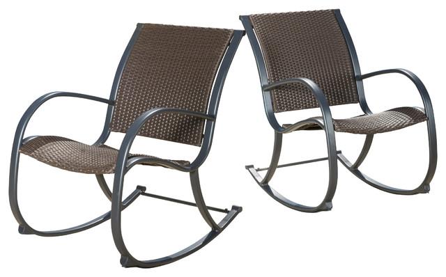 Leann Outdoor Dark Brown Wicker Rocking Chairs Contemporary Outdoor Rocking  Chairs
