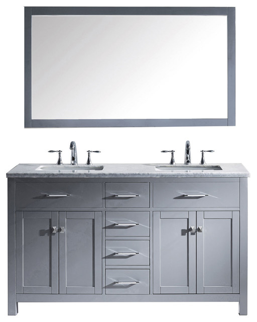 "Virtu Caroline 60"" Double Bathroom Vanity, Gray With Marble Top, With Mirror."