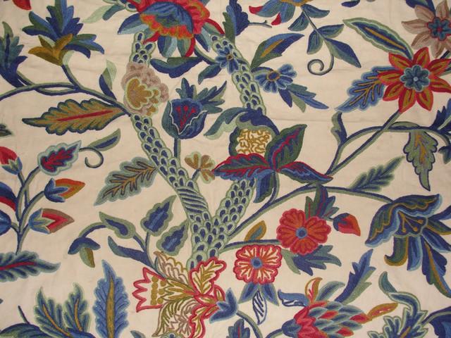 Crewel Fabric Hibiscus Vine Multicolor On Sweetpine Cotton Yardage Yard