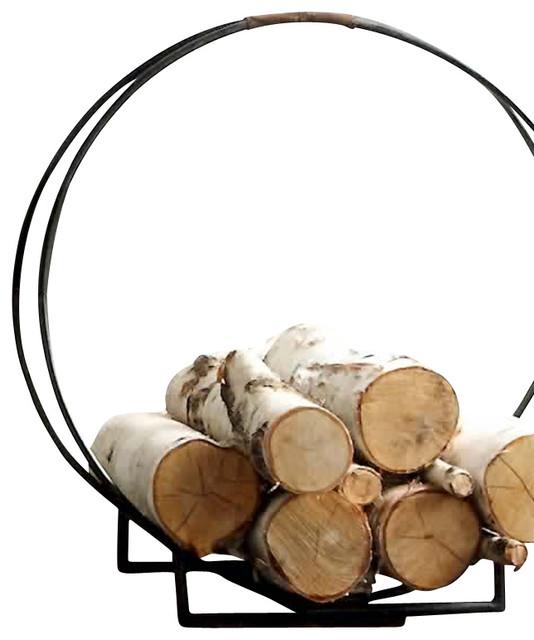 double ring iron log holder - Fireplace Log Holder