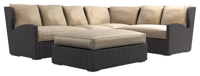 Superior Belstone High Back Deep Seating Outdoor Sectional Set Transitional Outdoor  Lounge Sets