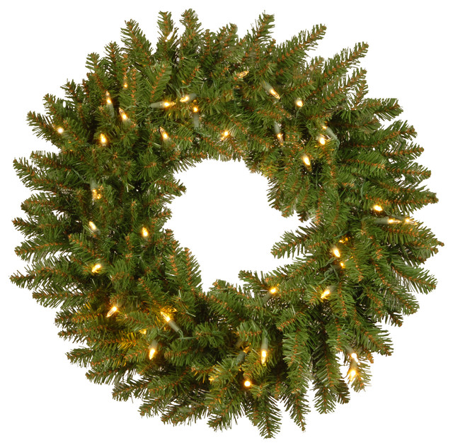 "24"" Kingswood Fir Wreath With Battery Operated Dual Color(r) Led Lights."