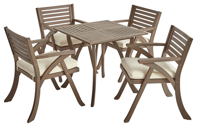 Astounding Deandra 5 Piece Outdoor Wood Dining With Cushions Set Gray Finish Creme Machost Co Dining Chair Design Ideas Machostcouk
