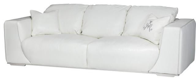Aico Michael Amini Mia Bella Sophia Leather Mansion Sofa, White.
