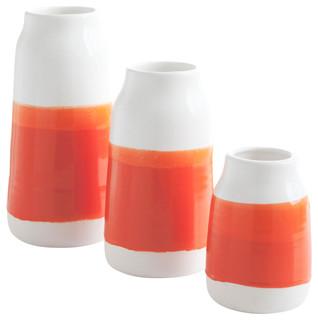 Handmade Porcelain Milk Vases, Bright Orange, Set of 3