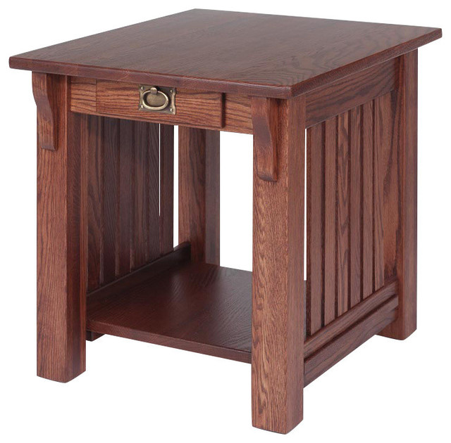 Solid Oak Authentic Mission End Table Traditional Side Tables And End Tables By The Oak