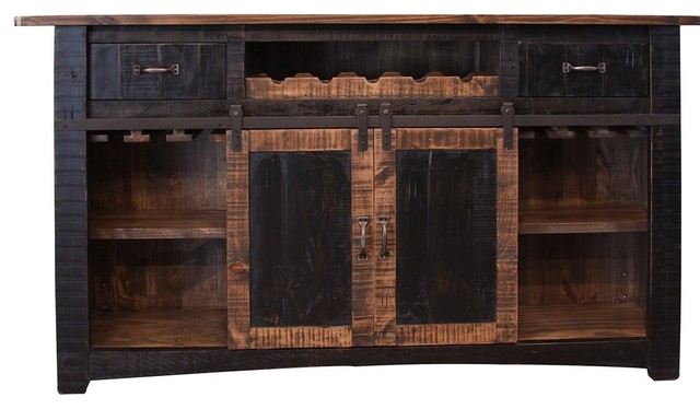 "Greenview 76"" Black Bar With Wine Rack 2 Drawers Barn Doors and Shelves - Farmhouse - Wine And ..."