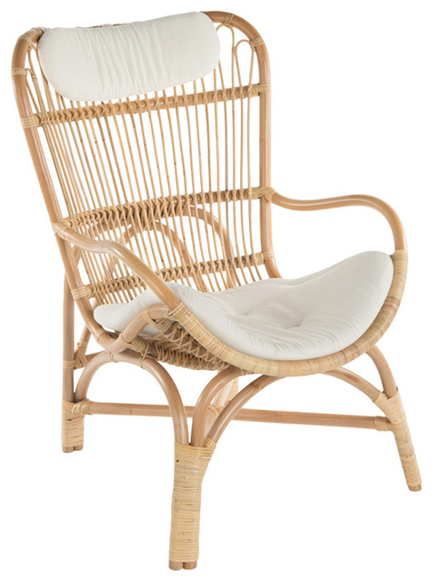 Fantastic Rattan Loop Lounge Chair With Seat And Head Cushion Natural Color Natural Customarchery Wood Chair Design Ideas Customarcherynet