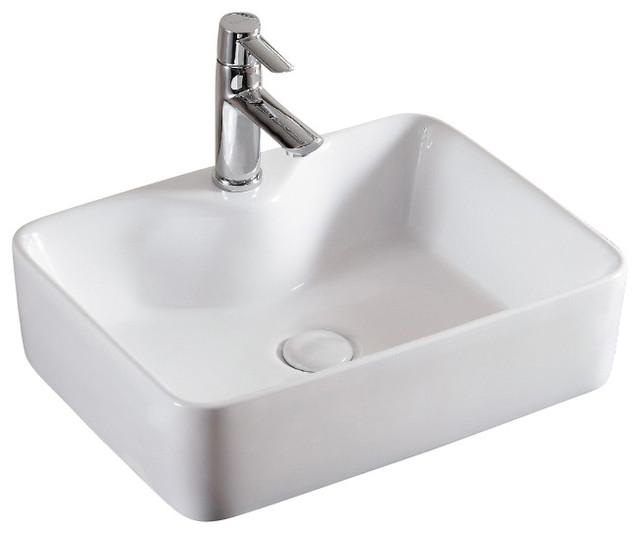 Rectangular White Ceramic Vessel Bathroom Sink, One Hole.
