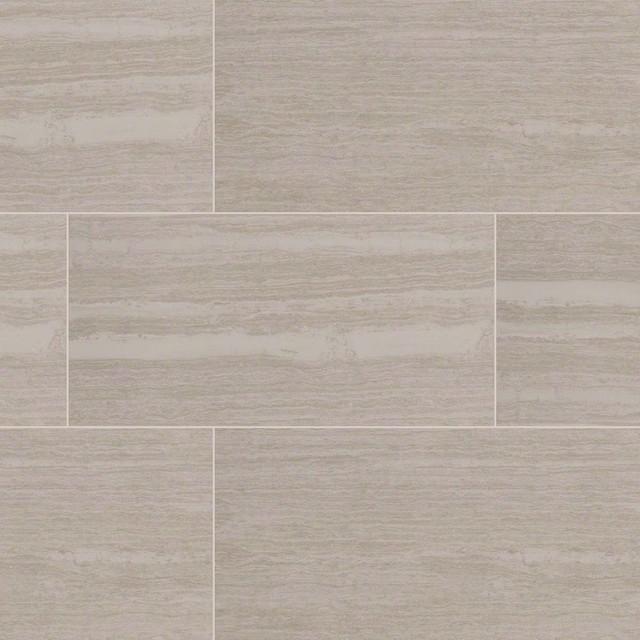 Elite White, Gray Orion Pietra Porcelain Tile, Polished, 12x24, 10 ...