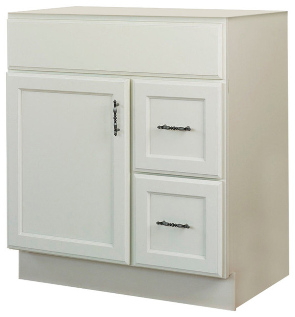 Jsi Plymouth 30 White 1 Door Vanity With 2 Right Hand Drawers Cabinet Only Transitional Bathroom Vanities And Sink Consoles By Gem Llc