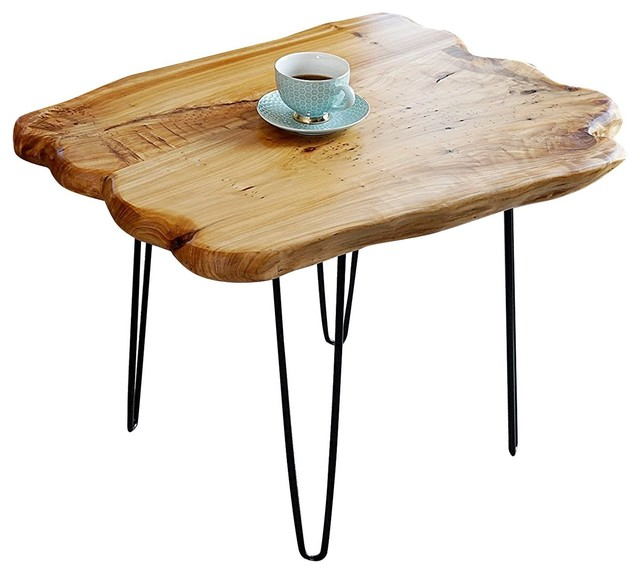 cedar coffee table with 4-metal leg - industrial - coffee tables
