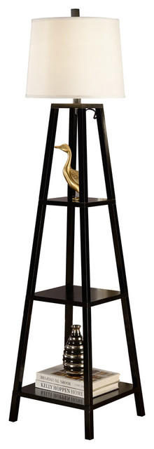 Elliot Modern 63 Java-Black Finish 3-Tiered Wood Floor Lamp.