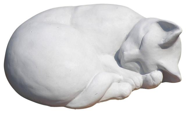 Classic Sleeping Cat Garden Statue Contemporary Garden Statues