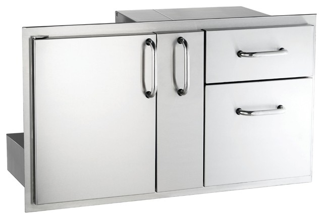 "Outdoor 36"" Access Door With Platter Storage And Double Drawer."