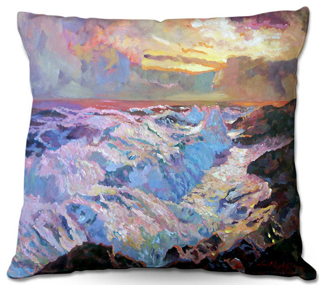 Pacific Blue Throw Pillows : DiaNoche Throw Pillows - Pacific Ocean Blue - Beach Style - Decorative Pillows - by DiaNoche Designs