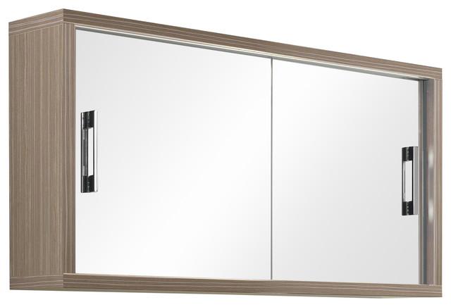 Giava Mirror Cabinet With Sliding Doors, Light Oak