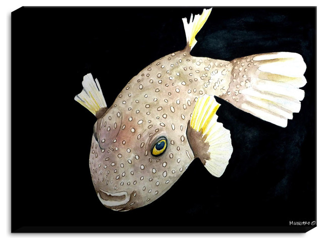 Dianoche Canvas Wall Art By Marley Ungaro Deep Sea Life- Puffer Fish.