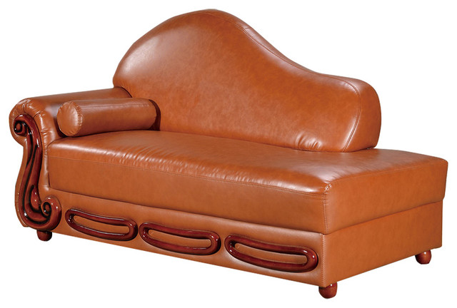 Bella Leather Chaise Traditional Indoor Chaise Lounge Chairs by Meridia