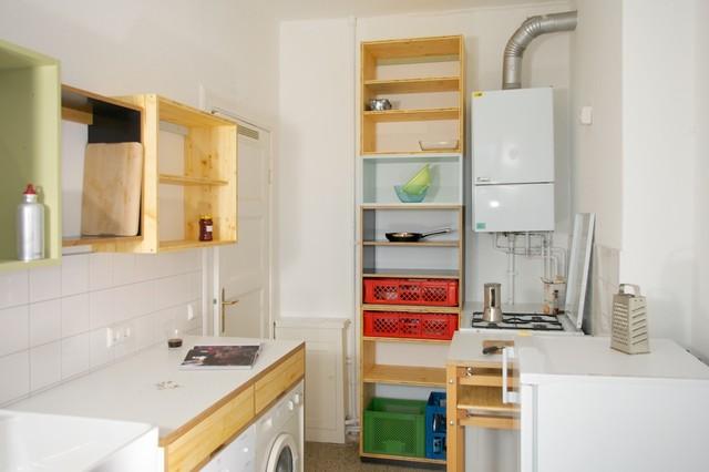 Küche in dreischichtplatte birke multiplex hpl beschichtet und lack