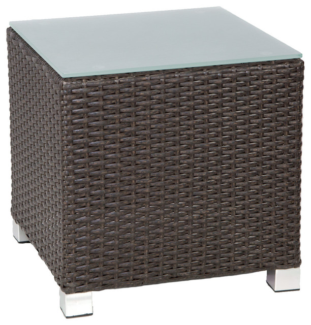 Venice Outdoor Side Table With Glass Top, Espresso Brown.