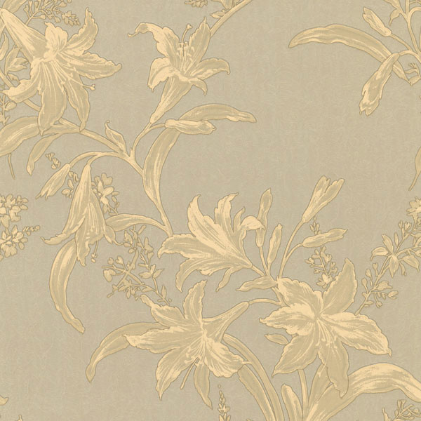 Metallic Gold And Beige Floral Wallpaper Transitional