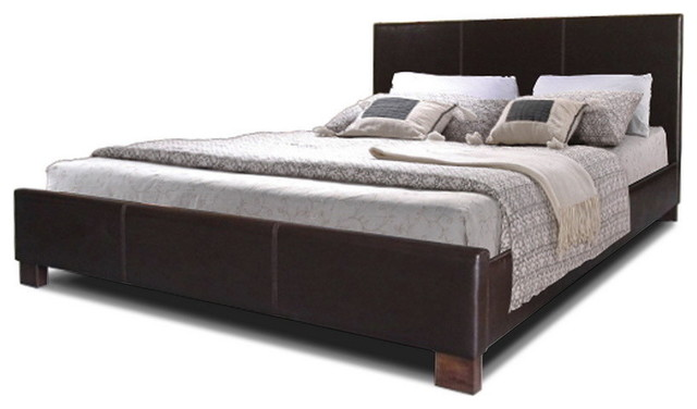 Pless Modern Bed, Dark Brown, Queen.