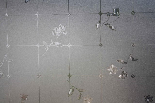 Frosted Tile Flowers Static Cling Window Film, 36x12&x27;.