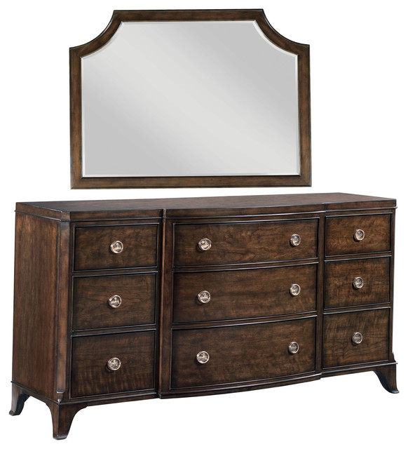 American Drew 2-Piece Grantham Hall Drawer Dresser With Mirror Set.