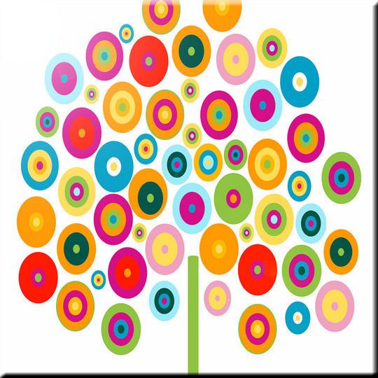 Rikki Knight Color Wheel Tree Design Ceramic Art Tile 6 x 6