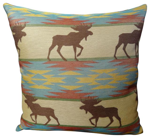 Southwestern Decorative Throw Pillows : Thomas Collection Taupe Blue High End Throw Pillow - Southwestern - Decorative Pillows - by ...