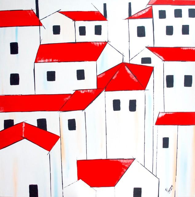 Landscape Original Wall Art, Red Roofs
