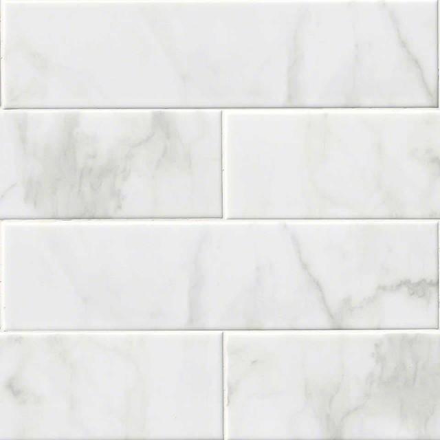 "Ceramic Glossy Subway Tile, Carrara White, 10 Pieces, 4""x16"""