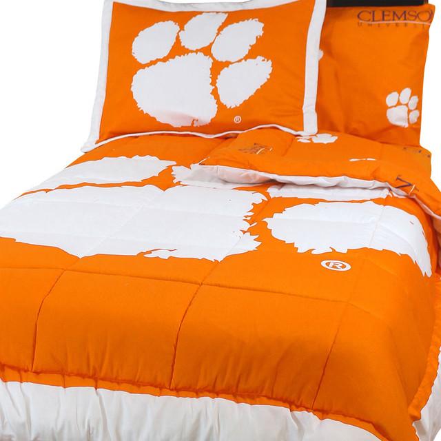 NCAA Clemson Tigers Full Bed Set Orange Cotton Bedding