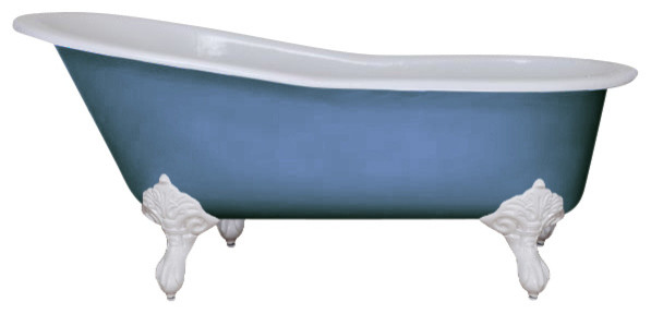 Beaulieu Cast Iron Tub, Cooks Blue, With White Feet and Without Tap Holes