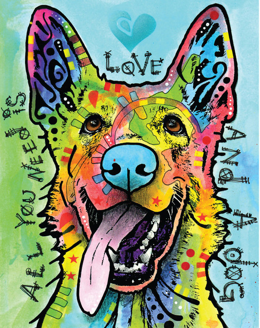 German Shepherd Pop Art Decal Love And A Dog By Dean Russo S