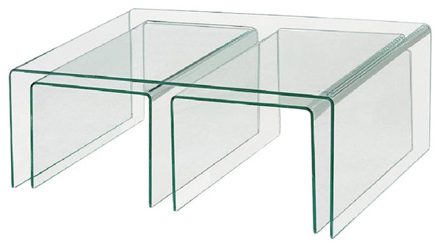 Clear Bent Glass Nest Tables, 3/8u0027u0027 Thick, ...