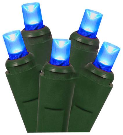 Commercial Grade Blue Led Wide Angle Christmas Lights, Set Of 50, Blue.