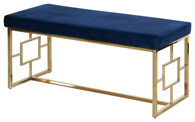 Blue And Gold Stainless Steel Bench.