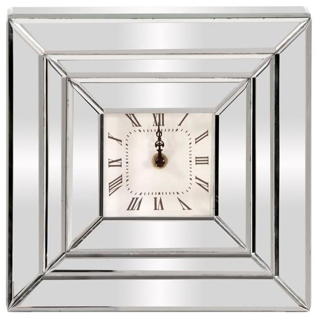 Mirrored Wall Clock howard elliott square mirrored clock - contemporary - wall clocks