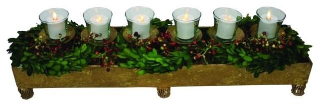 Gold Long Votive Candle Holder Centerpiece Planter