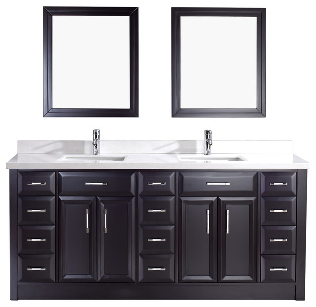 Calais Vanity Set, Espresso And Carrera Solid Surface, 75u0027u0027