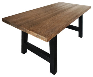 Edward Indoor Light Weight Concrete Dining Table, Natural Oak