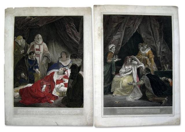 Queen Elizabeth Engravings Set Of 2 1796