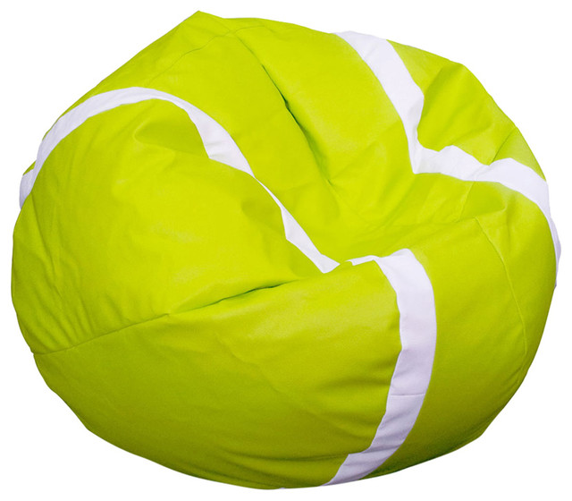 Beanbag Tennis Lime And White Filled Bag Modern Bean Chairs