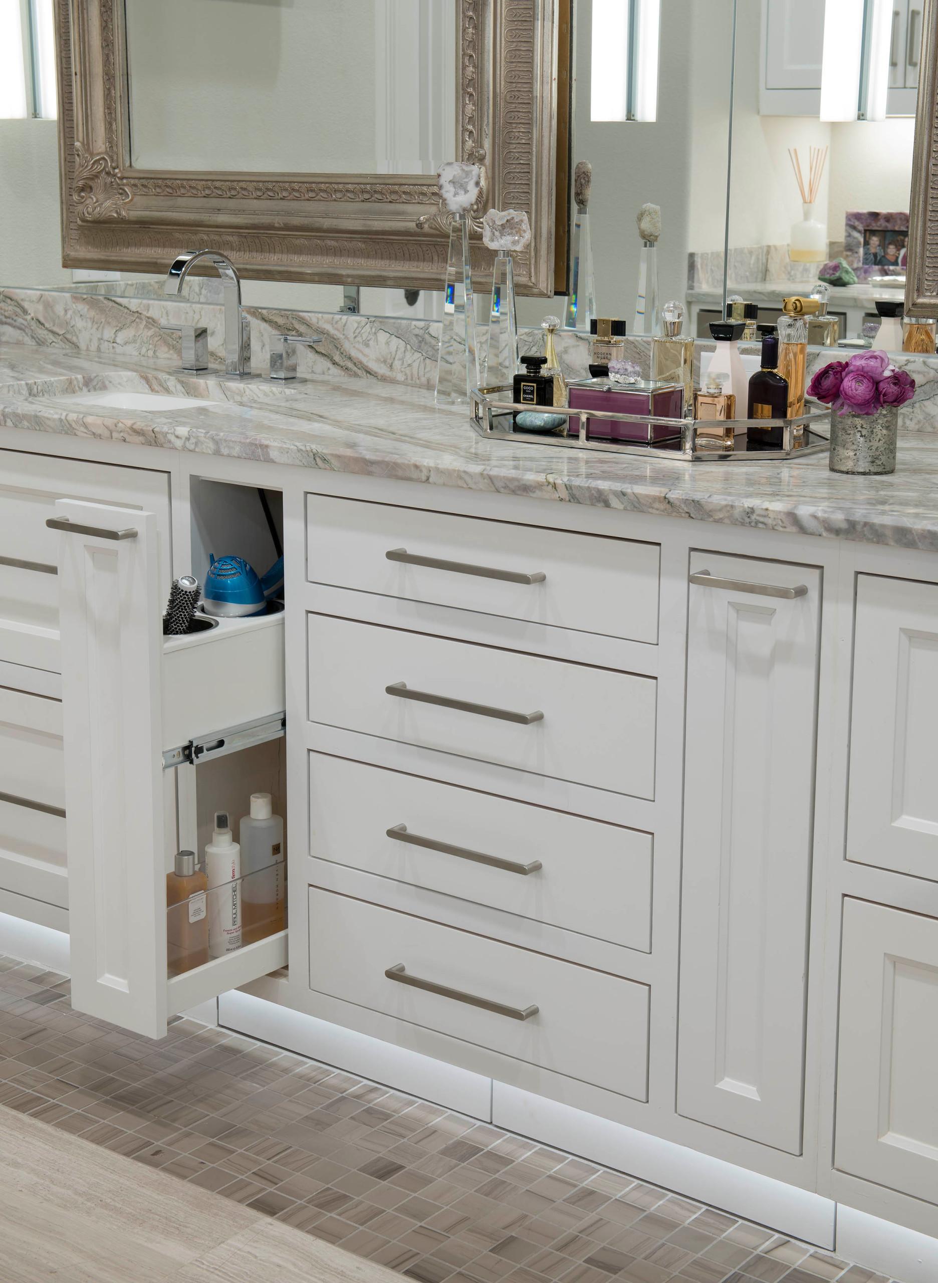 Modern Mediterranean Master Bath Vanity Detail