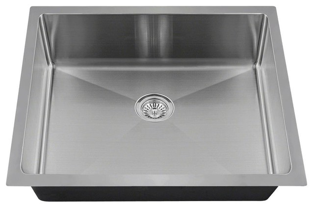 "MR Direct ADA1823 Single Bowl 3/4"" Radius Stainless Steel Sink, Sink Only"