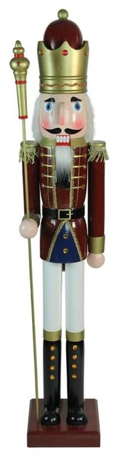 """48"""" Decorative Red King Wooden Christmas Nutcracker with Scepter"""