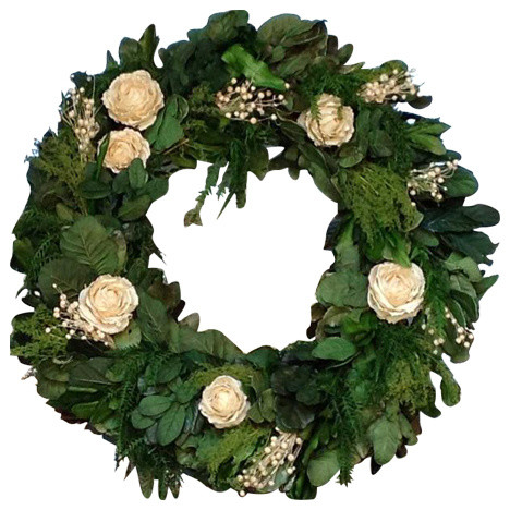 Dried Preserved Ivory Rose Wreath, 22.