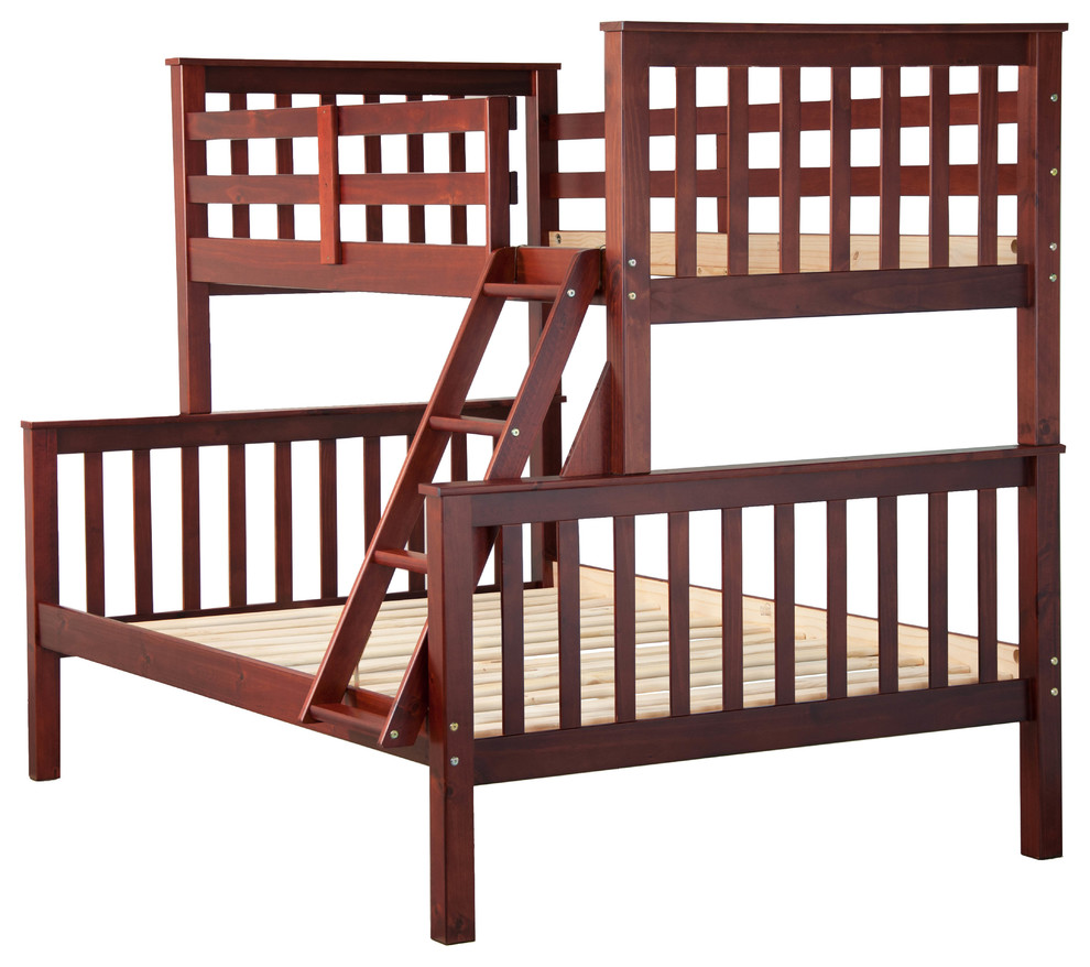 100% Solid Wood Mission Twin Over Full Bunk Bed by Palace Imports, Mahogany